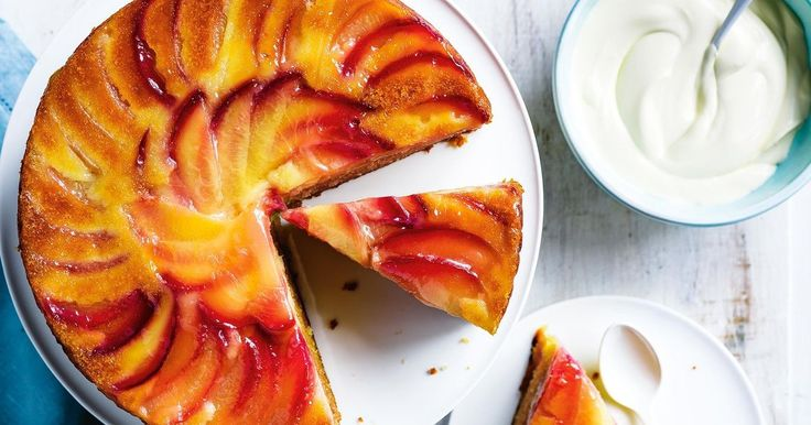 Use fresh nectarines or plums to make this delicious upside-down cake.