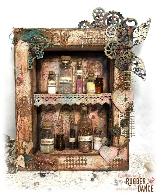 * Rubber Dance Blog *: Vintage MDF Shrine Tutorial by Bibi Mixed Media Altered Art