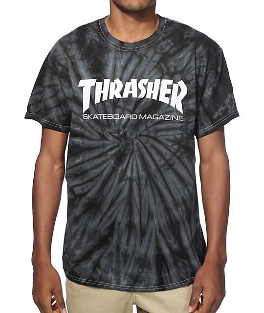 A black and grey spider tie dye wash is accented with a white Thrasher Skateboard Magazine logo graphic printed on the front for an iconic look.