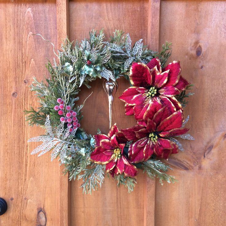 Victorian Wreath, Christmas Wreath, Winter Wreath, Front Door Decor, Wall Decor, Red Poinsettia Wreath, Cedar Wreath, Made In Canada by DearloveDecorDesign on Etsy