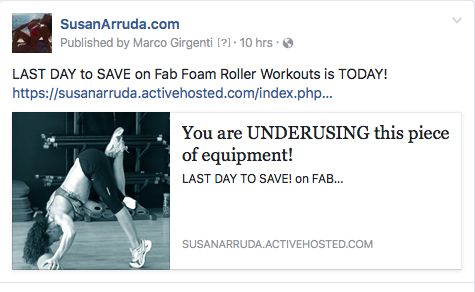 A few hours left!! - Get a unique edge in your training with this program! - This hot fitness trend is sweeping the fitness world by storm. You will be using your foam roller in ways you never imagined and your core training, sculpting and fat burning will catapult into the stratosphere. - SusanArruda.com - https://susanarruda.activehosted.com/index.php?action=social&c=196&m=224