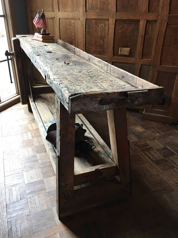 Antique Wood Working Workbench With Vice Vintage Industrial Workbench Industrial Console Table How To Antique Wood Industrial Console Tables Antiqued Console