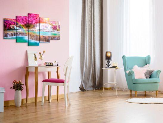 Paesaggio pieno di colori ed allegria si abbina perfettamente con primaverile interno nelle tonalità pastello.Noi siamo rimasti incantati! #quadro #quadri #cascatacolorata #paesaggio #cascata #internipastello #bimago