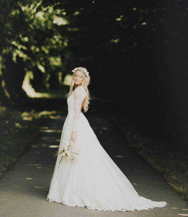 Laid Back French Château Wedding Hildegunn Samuel Long Sleave Dresswedding