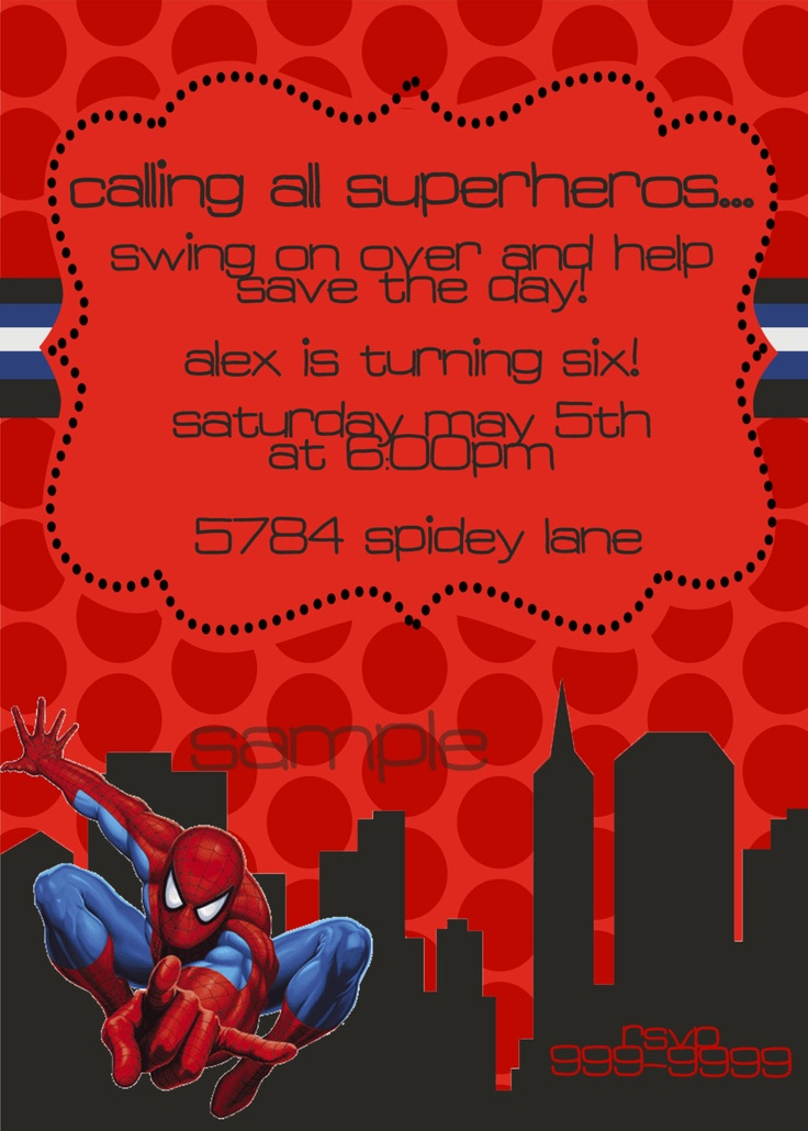 free editable spiderman birthday invitation templates - Picture ...