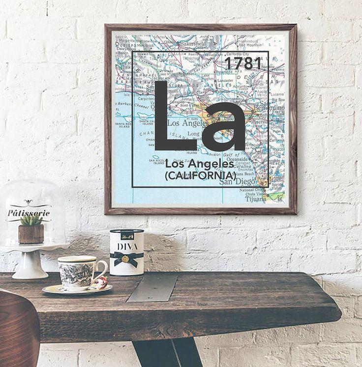 Los Angeles California La Vintage Periodic Map
