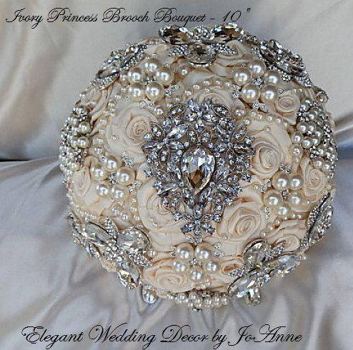 BEAUTIFUL Custom Brooch Bouquet - DEPOSIT for Custom Ivory Brides Wedding Brooch Bouquet,Jeweled Bouquet, Crystal Wedding Bouquet, price 450