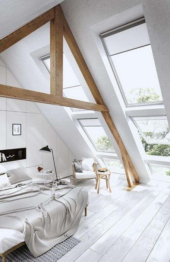 Jugando con las estructuras vistas - Las vigas y estructuras vistas quedan sensacional en cualquier habitación abuhardillada. Foto: Pinterest