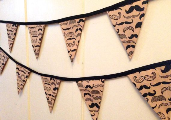 Moustache Bunting // MOvember //Nursery by HoorayForBunting