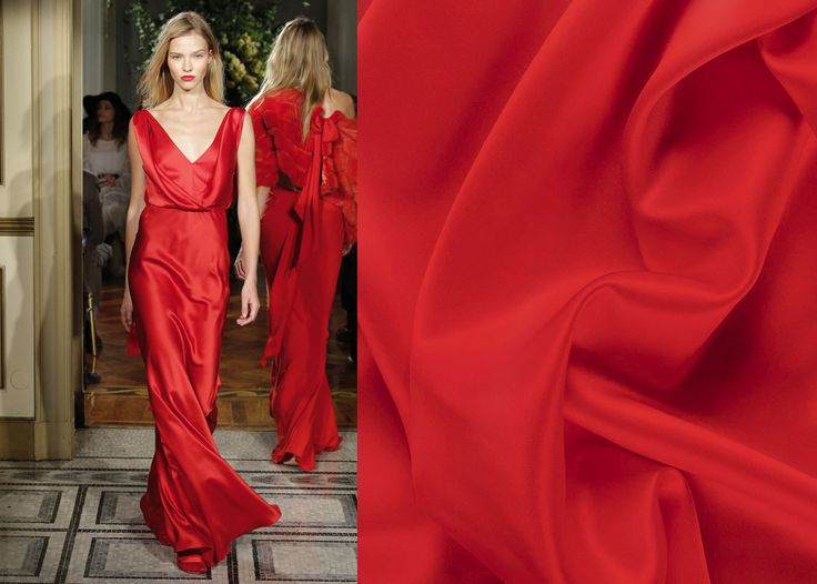 Get inspired by this dress and create you own look with #MalagoliFabrics satin silk! #Fabrics #SatinSilk #Silk