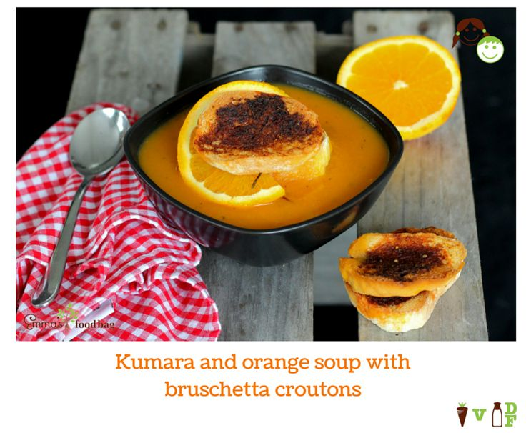 Kumara and orange soup with bruschetta croutons