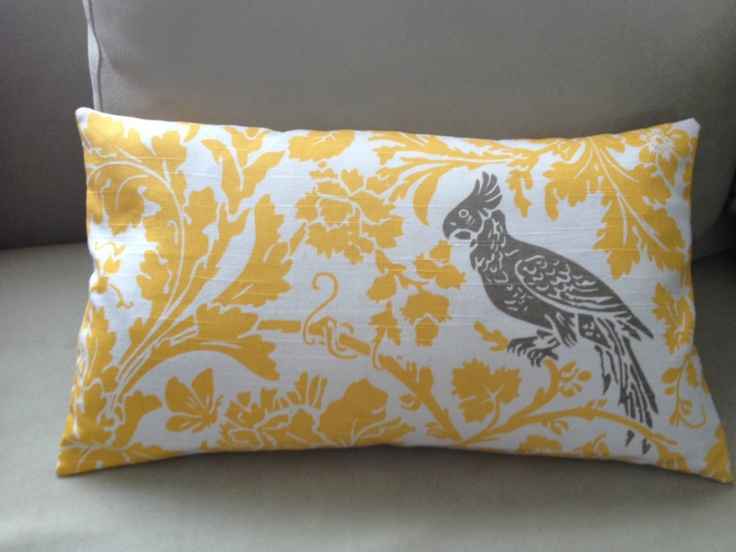 Yellow and taupe parrot cushion COVER ONLY (without feather inner) | Felt