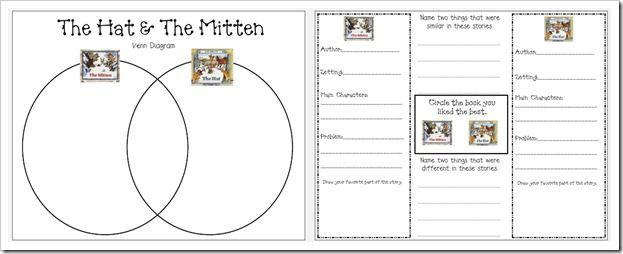 great lessons and activities to go with The Mitten!! Also, a great idea to compare The Hat and  The Mitten, both by Jan Brett.