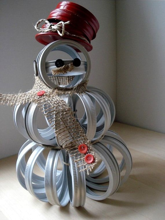 Upcycled Mason Canning Jar Lid Snowman white by MyWhimsicalLily, $35.00