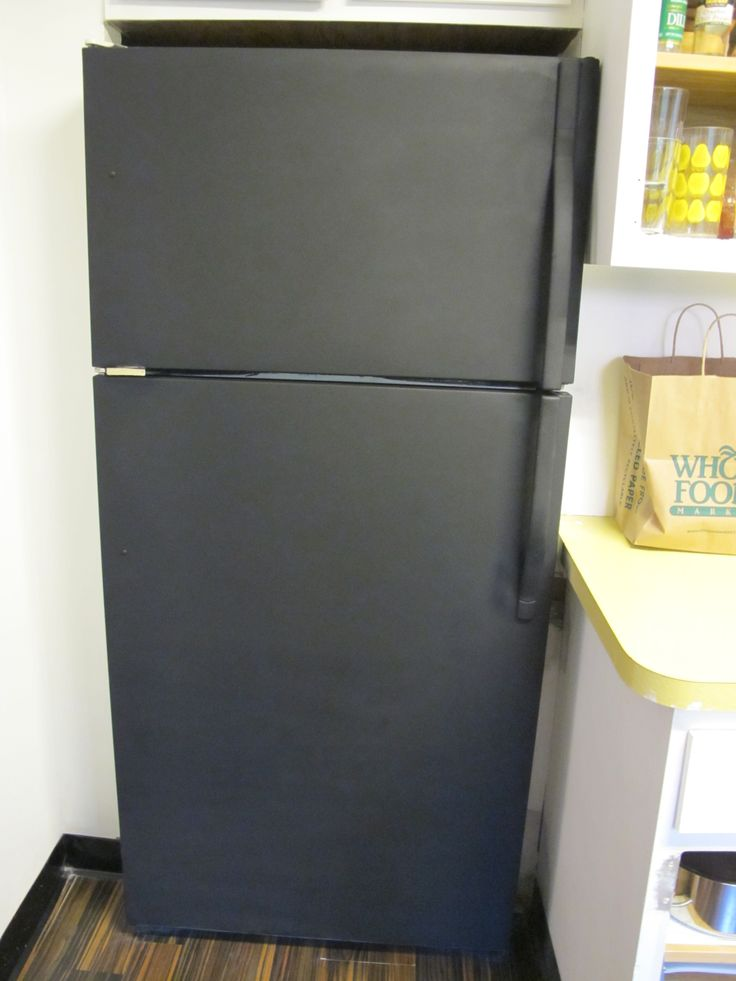Chalkboard Paint on white fridge, including handles. Would be fun for a garage fridge!!