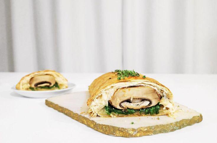 Portobello mushrooms wrapped in phyllo pastry. Easier to make than it looks. Recipe on Jonny Hetherington Essentials website.
