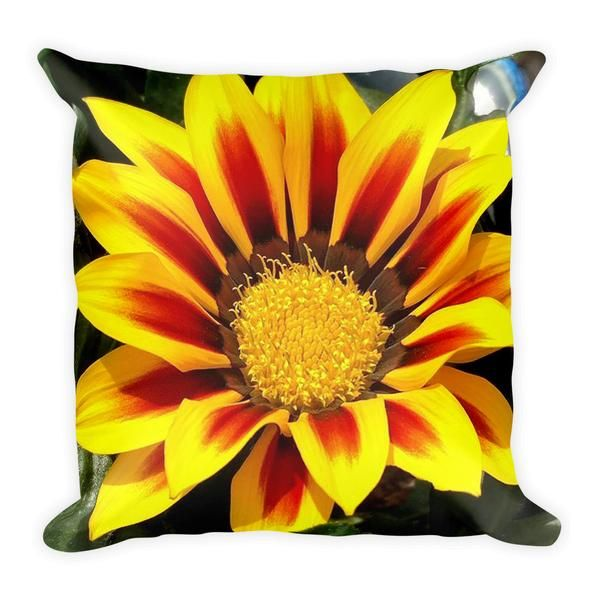 "Yellow Flower 18"" Square Pillow - This soft pillow is an excellent addition that gives character to any space. It comes with a soft polyester insert that will retain its shape after many uses, and the pillow case can be easily machine washed.   • 18""x18""  • Machine washable cover • Concealed zipper • Printed on both sides • Pillow case cover: 80% polyester, 20% fleece • Pillow case insert: 100% polyester • Precision-cut and hand-sewn after printing"