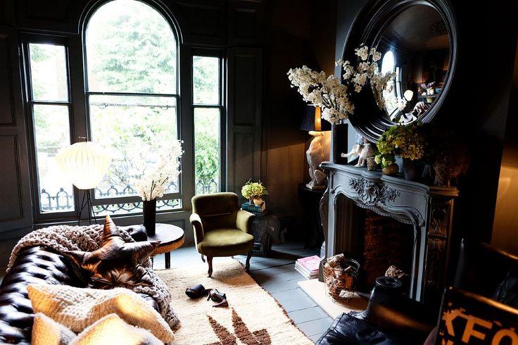 dark living room.: Interior Design, Decor, Living Rooms, Interiors, Livingroom, Dark, House, Fireplace, Abigail Ahern