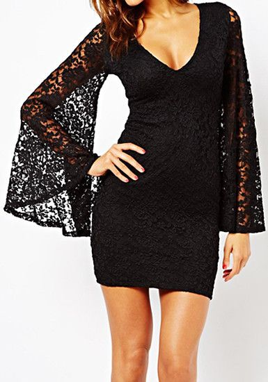 Sheer Lace Bell Sleeves Dress