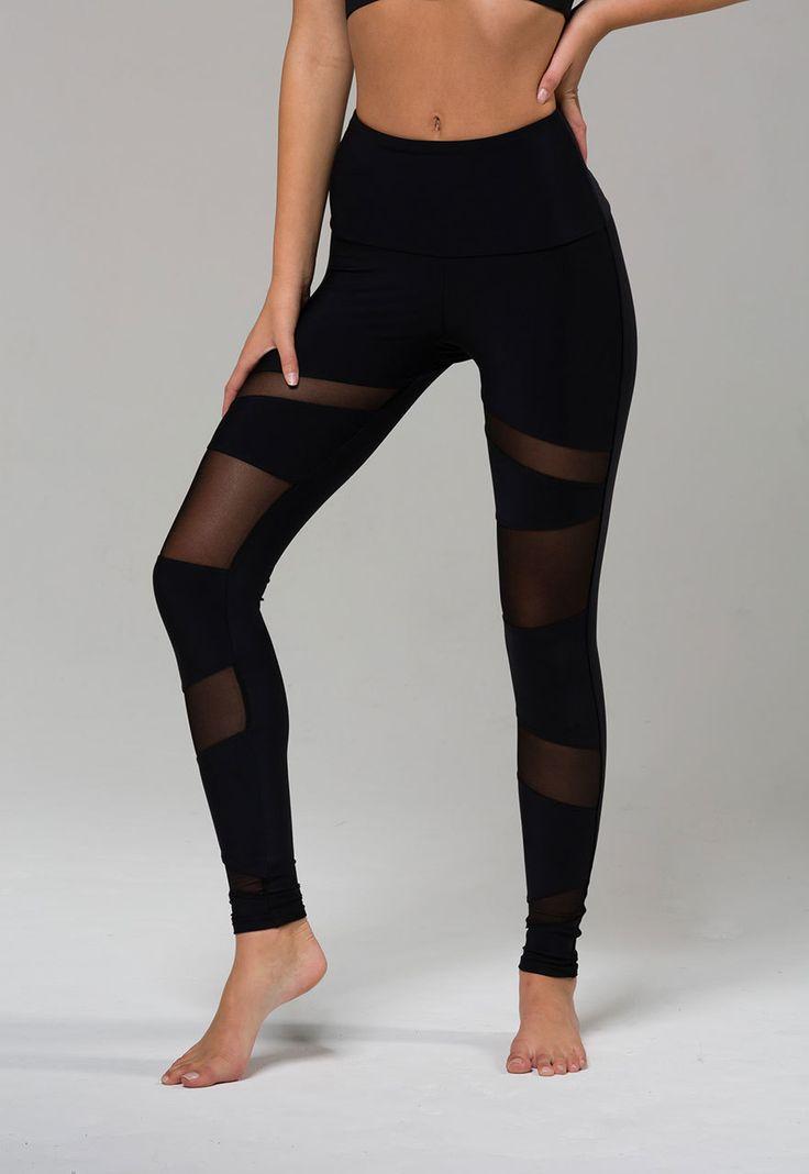 Yoga Pants | High Rise Bondage Legging - Black / Black Mesh #PinToWinOnzie
