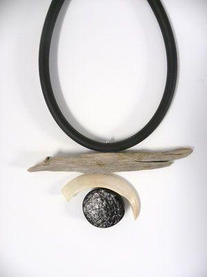 Eliane Amalric  - Wood float collar, warthog tooth, resin rubber disk