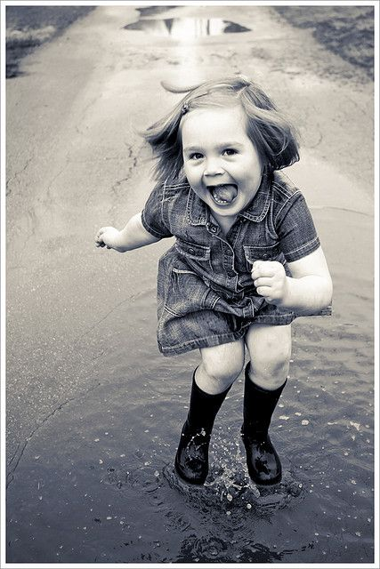 """Oh, did you say NOT to jump in the puddle?"" Simple joy~"