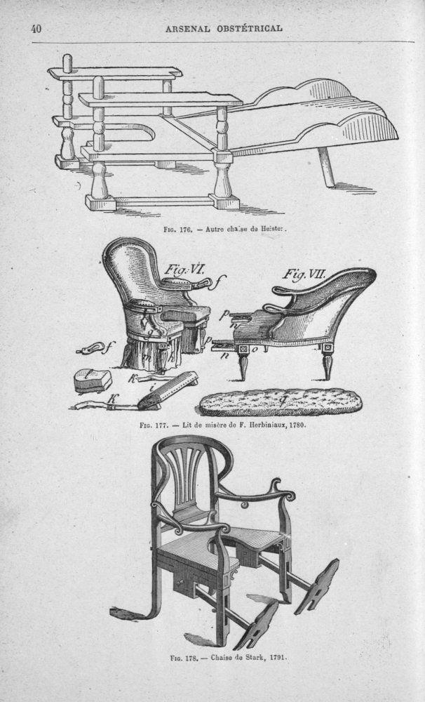 histoire de l'obstétrique | Chaise de Heister, lit de misère de F. Herbiniaux, chaise de Stark ...