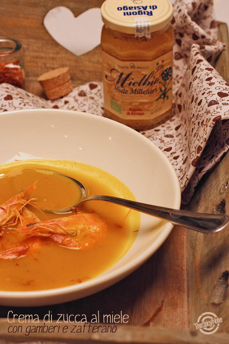 Zuppa di zucca al miele con gamberi e zafferano