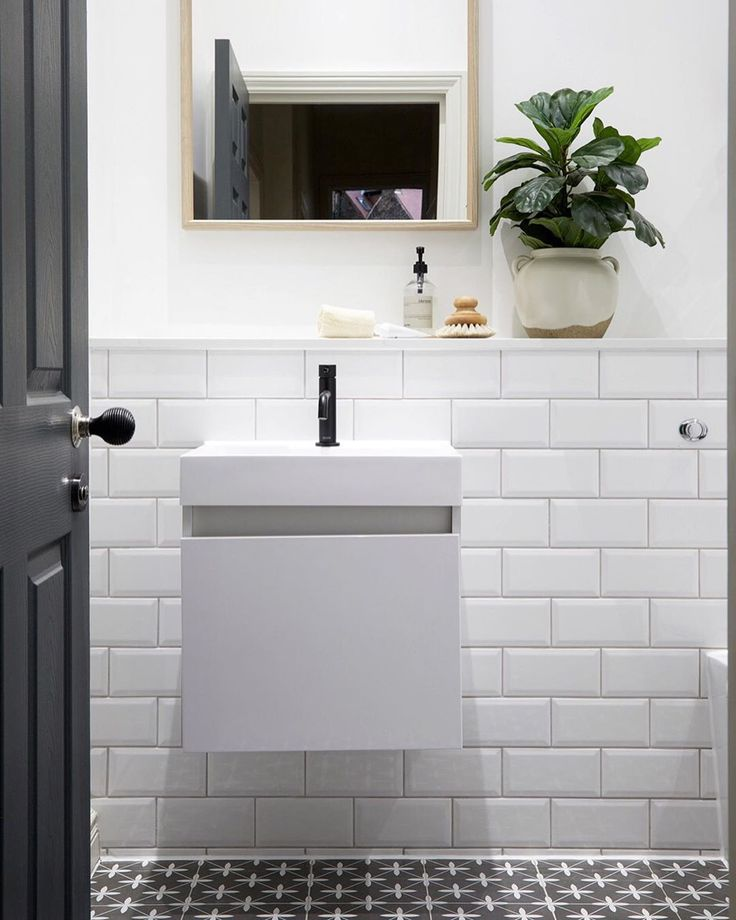 Rebecca Wakefield On Instagram If You Re Looking For Small Bathroom Inspo There S Hardly Any Dec Small Bathroom Black And White Tiles Bathroom Bathroom Inspo