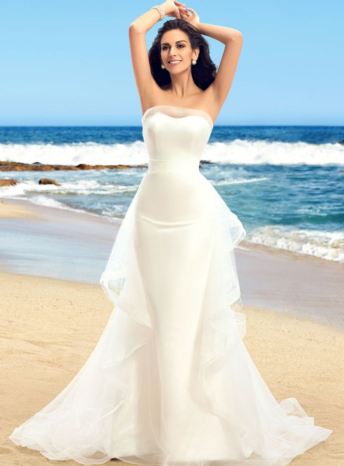 Best Strapless Beach Ruffles Floor Length Chic u Modern Zipper up Natural Hourglass Wedding Dress