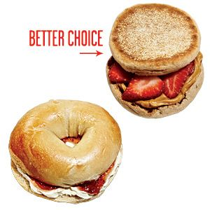Instead of a Bagel, Reach for an English Muffin - 100 Healthy Tips - Cooking Light Love PB and strawberry combination