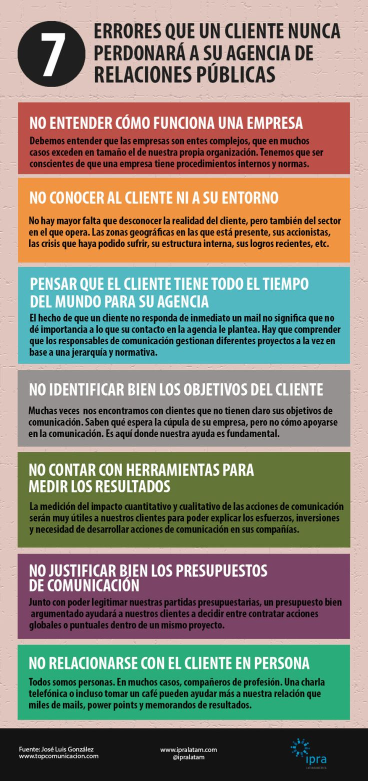#Infografia #Marketing 7 errores que cliente no perdona a una agencia de Relaciones Públicas. #TAVnews