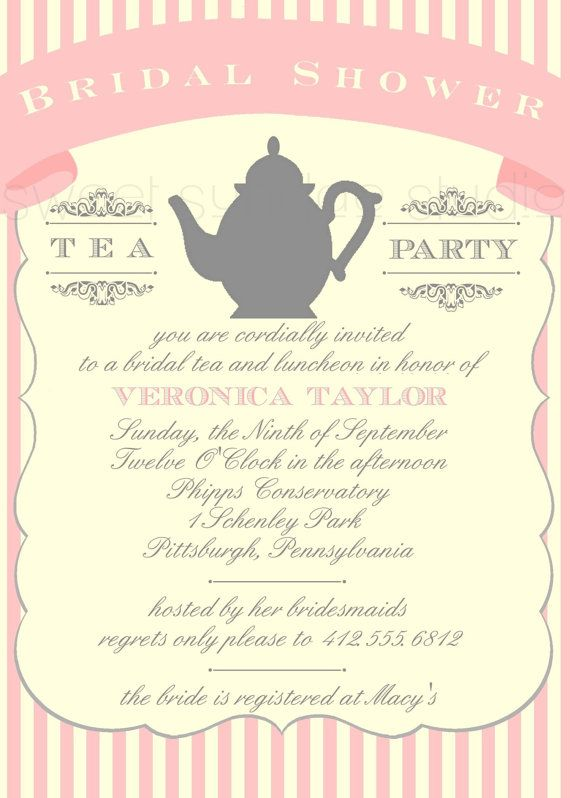 Vintage Tea Bridal Shower Invitations | how about some decoration for your cupcakes or scones from vintagetwee