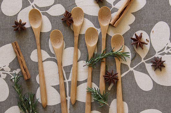 Dandi's bamboo petite spoon set. Decorating with herbs and spice.  www.dandi.com.au