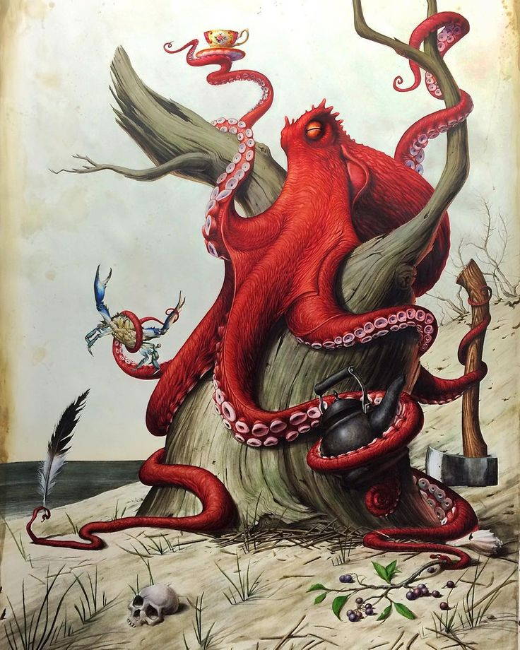 """""""The Naturalist"""" Watercolor on paper 54"""" X 72"""" 2015 I painted this with the anticipation of it hanging I my home. The study was done last winter with the idea of a 19th century explorer doing his thing on the shores of where I grew up. The explorer had to be an octopus because octopus are my thing and it seemed like a perfect pick to beach comb with eight hands you could collect quite a bit. And every good explorer needs an axe. #octopus #watercolor #art #painting by victorgrasso"""