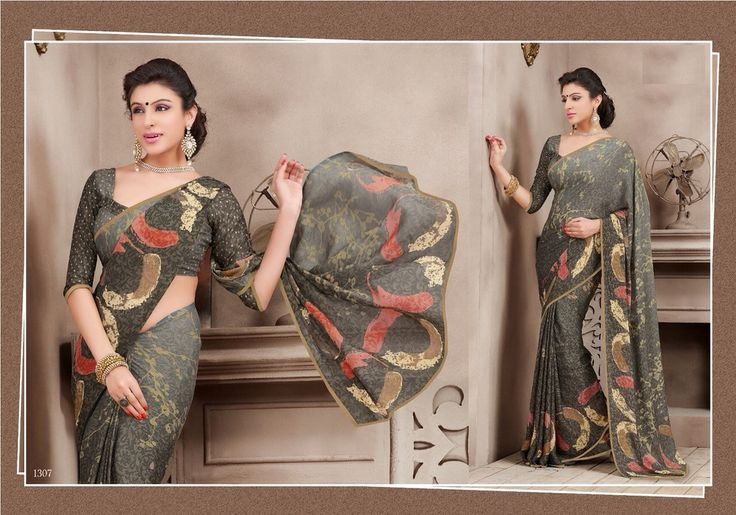 Fashionable Saree made with Brasso fabric with piping border..@ fashionsbyindia.com #Sarees