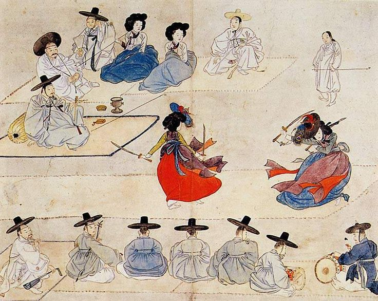 "Dancing together holding with two swords"" (translit. title:Ssanggeum daemu) from Hyewon pungsokdo held by Gansong Art Museum in Seoul, South Korea. presumed after 1805"