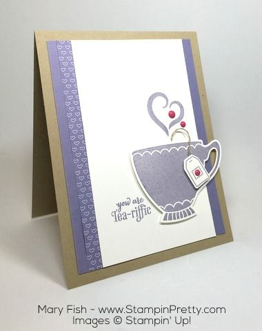 Modern twist on tea time using A Nice Cuppa stamp set and Cups & Kettles Framelits Dies.  Card designed by Mary Fish, Independent Stampin' Up! Demonstrator.  Details, supply list and more card ideas on http://stampinpretty.com/2015/12/a-tea-riffic-sneak-peek-card.html