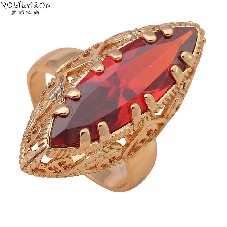 Royal Garnet Rings for women  Gold Plated Nickel & Lead Free Fashion Jewelry Huge Red Crystal Rings USA Sz #7#8#9#10 JR2026