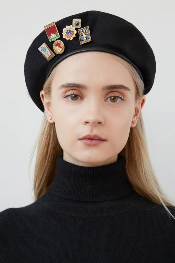 ff026cd4181 SASHA Black wool beret with soviet badges and faux leather trim