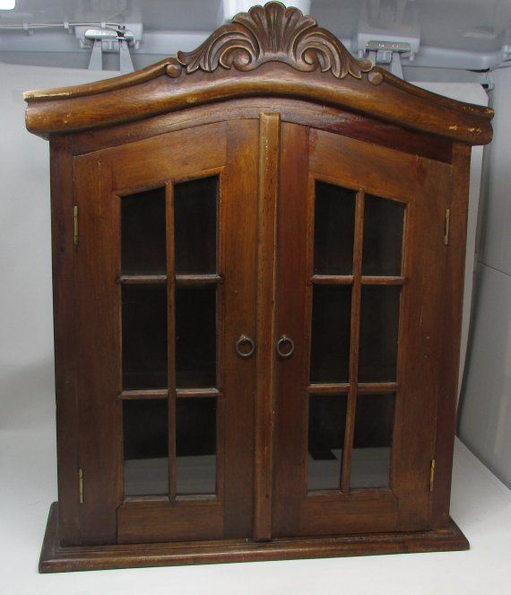 Vintage Curio Wall Cabinet Mahogany Display Cabinet With Glass