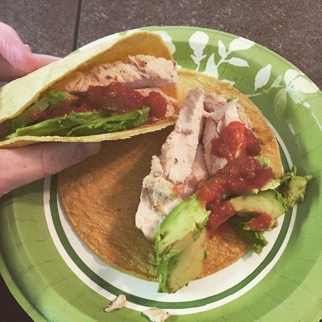 Yum. Meal 2.  4.5 oz grilled chicken, avocado, salsa, 2 corn tortillas