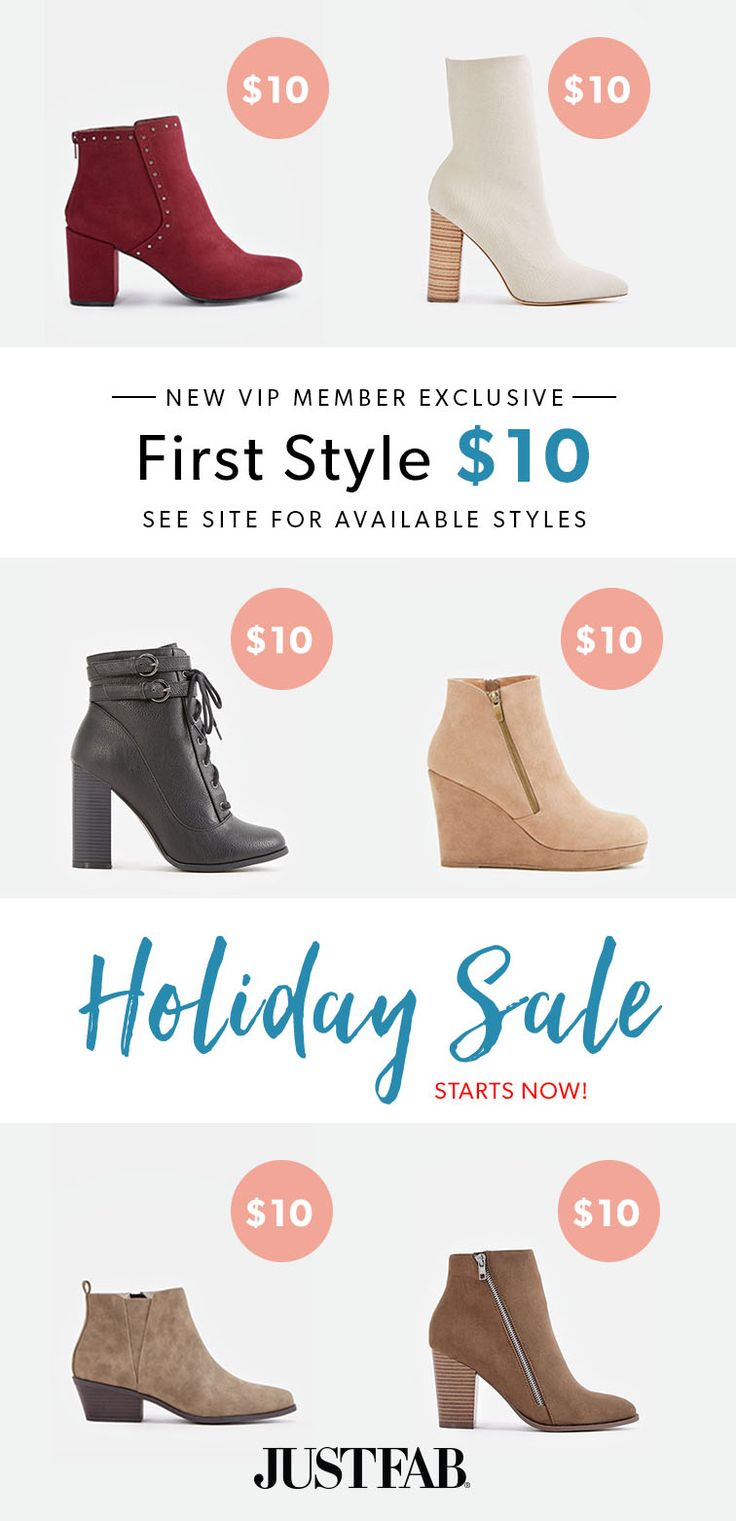 The Holiday Sale is Here! For a limited time, New VIP's get their first pair of booties for only $10!