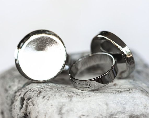 1344_Round blank rings, Adjustable size,Round tray caboshon,Silver round ring,Silver blank ring,Ring cabochon,Ring setting cameo 20 mm_5 pcs