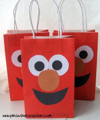 bolsa de papel para fiestas infantiles personalizada de elmo