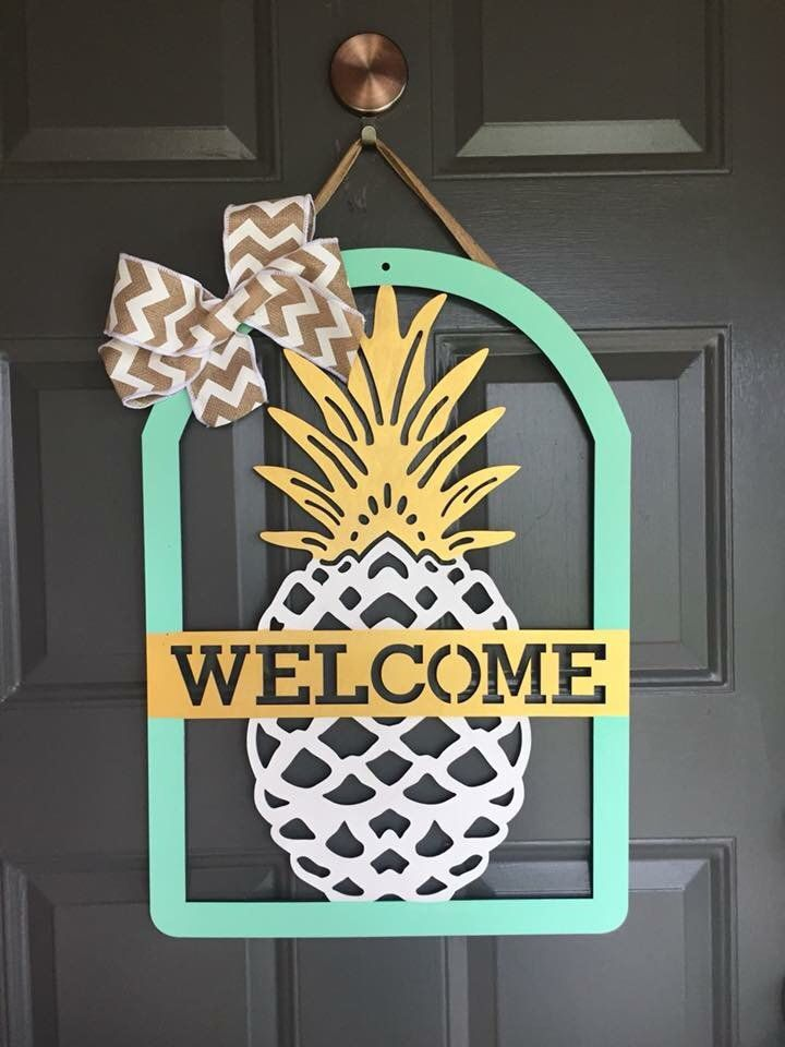 pineapple, door sign, summer decor, monogram, spring decor, wooden pineapple, gifts Wooden Monogrammed Pineapple Door Hanger or Wall Art