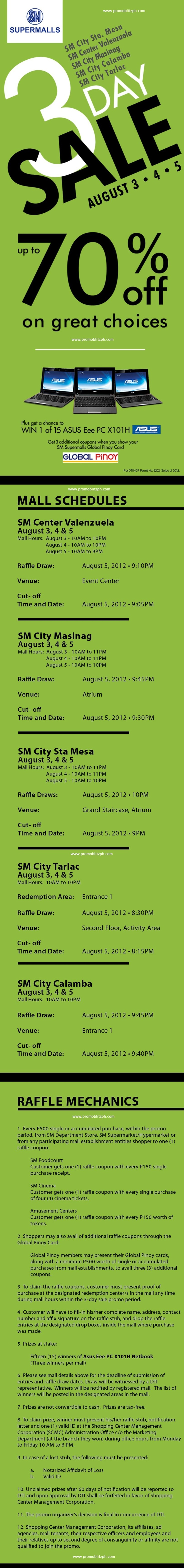 SM Supermalls 3 Day Sale: August 3 to 5 http://www.promoblitzph.com/sm-supermalls-3-day-sale-august-3-to-5/