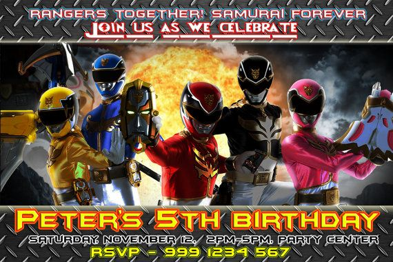 Power Ranger Birthday Invitation Megaforce by TheLittleBearSaloon – Power Ranger Party Invitations