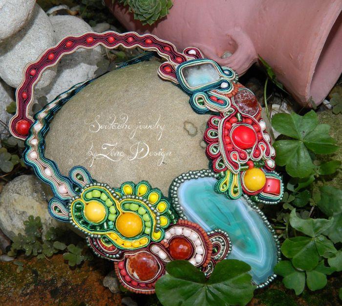 "Necklace soutache – ""A slice of nature"" | Zena Design"