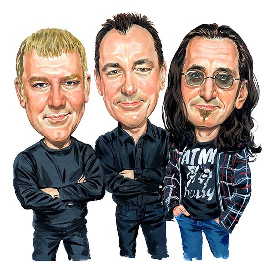 Rush ( Alex Lifeson, Neil Peart, Geddy Lee ) ...artwork by www.ExaggerArt.com